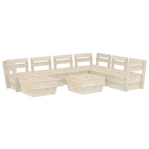 Tidyard Muebles de palets para jardín Sofá de palés para jardín 12# 8 pzas Madera de Abeto impregnada