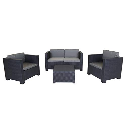 Charles Bentley Shaf Diva Comfort Garden Patio Lounge Set Including Sofa, Armchairs & Storage Coffee Table in Grey