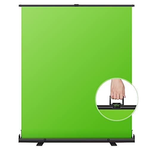 Neewer 148x180 cm Écran Toile de Fond Vert, Fond Chromake Pliable Portable, Style Pull-up avec Cadre à Verrouillage Automatique, Base en Aluminium Solide pour Vidéo Photo, Jeu en Direct, Tiktok
