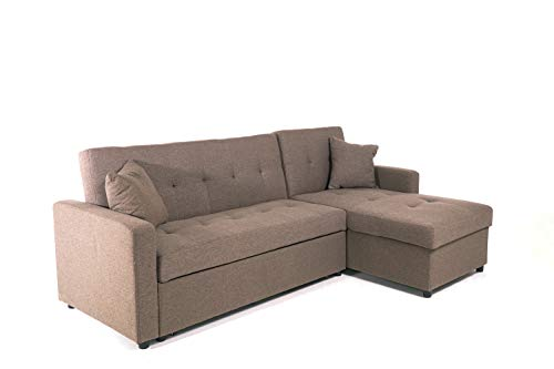 Hinton L Shaped Corner Sofa Bed with Reversible Chaise - Versatile LH or RH orientation - in Brown