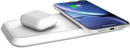 ZENS Qi-zertifiziertes duales kabelloses Schnellade-Pad 20W Weiß, Unterstützt Fast Wireless Charging für Samsung Galaxy S7/S8/S9 Serie - Funktioniert mit allen Geräten mit kabellosem Laden