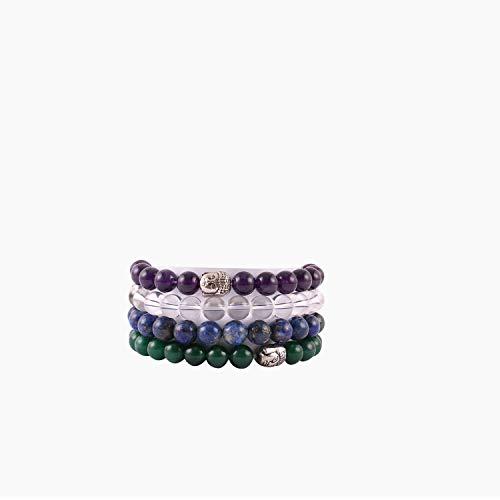 Aatm Edelsteen Ametyst, Kristal, Lapis & Jade Bedel Armband (Kralen Maat - 7-8 mm) (Steen voor bovenste chakra)