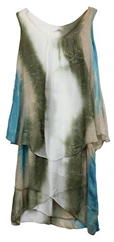 BZNA Ibiza Batik Empire Lagenjurk zomerjurk groen wit taupe turquoise 100% zijden jurk Bozana zomer herfst zijden jurk dames jurk jurk elegant