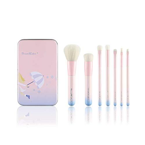 LHY- Maquillage Portable Brush Set 7 Rose dégradé Fer Boîte débutant Pinceau Mode