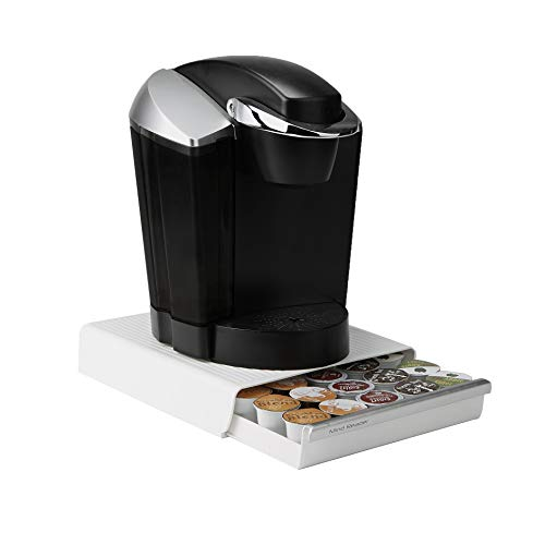 Mind Reader Coffee Pod Storage Drawer for K-Cups, Verismo, Dolce Gusto, Holds 30 K-Cups, 35 CBTL, Verismo, Dolce Gusto, White