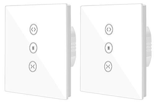 Jinvoo Smart WIFI Touch-Schalter Drahtlose Fernbedienung Fenster Vorhang Schalter Controller Rollladenschalter, kompatibel mit iOS/Android, Kompatibel mit Alexa Echo und Google Assistant (2-Pack)