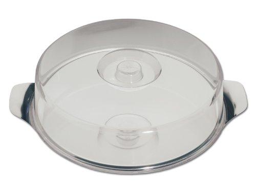 chg 14004-07 Obstkuchen-Platte aus Edelstahl-rostfrei mit extra flacher Klarsichthaube, 30 x 7 cm