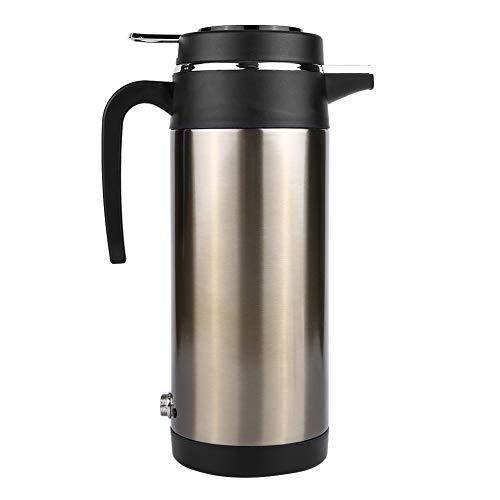 Keenso Auto Wasserkocher Kessel 1200 ML 12 V / 24 V Edelstahl Elektrische In-car Wasserkocher Auto Heizung Tasse Reise Thermoskanne Heizung Wasserflasche für Wasser Tee Kaffee Milch(12V)