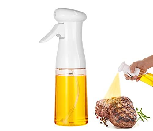 Olive Oil Sprayer for Cooking,Oil Dispenser Bottle Spray Mister for Air Fryer, Portable Refillable Food Grade Kitchen Cooking Oil Bottle Mist Spritzer for Baking, BBQ, Salad, Frying, 7oz(210ml),White