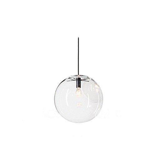 Wings of wind - palla di vetro paralume E27 ciondolo luce lampadario trasparente getta luce impiccagione lampada nera lampada titolare (25cm)