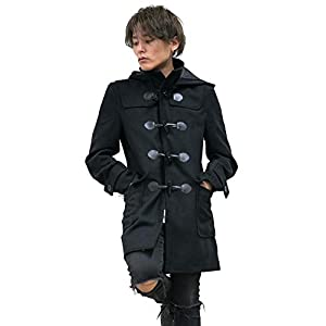 ダッフルコート メンズ ロングコート ロングダッフルコート 3カラー ブラック 黒 グレー 灰色 ネイビー 紺 カジュアル メルトン ウール マント BLACK(黒) Mサイズ