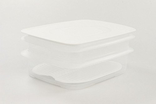 TUPPERWARE Cool`N Fresh Behälter 1,5 L + 700 ml + Gitter + Deckel weiß 10003