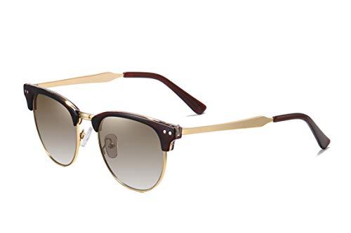 SKILEC Gafas de Sol Polarizadas Hombre Mujer Marco de Metal - Gafas para Ciclismo, Running, Deporte, MTB, Bicicleta Gafas de Sol Mujer, Gafas de Sol Hombre Protección 100% UV400 (Marrón Dorado/Marrón)
