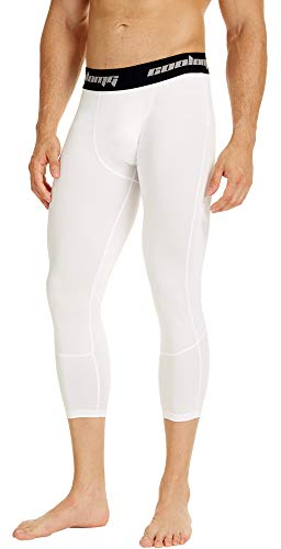 COOLOMG Boys Compression Pants Youth Basketball Tights Leggings Running Football Baselayer 3/4 Capri White XL