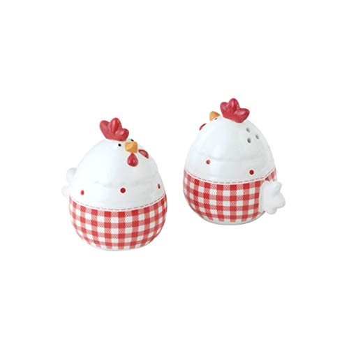 Vidal Regalos Salz- und Pfefferstreuer, Hühner, Keramik, Pfefferstreuer, Weiß und Rot, 7 cm