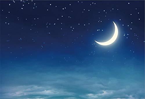 EdCott 9x6ft Luna e stelle Sfondo Bellissimo cielo Notte Stella stellata Foto Sfondo Bambini Baby Neonato Compleanno Decorazione Baby Shower Puntelli fotografici