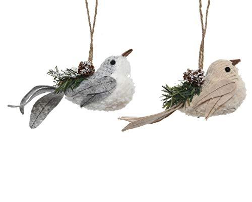 Kaemingk Lot de 2 décorations Assorties pour Oiseaux à Suspendre 13 cm de Long