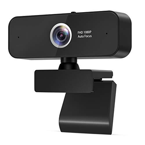 eztechny Webcam PC 1080P Full HD con Micrófono Estéreo, Webcam USB 2.0 Streaming Cámara Web para Video Chat y Grabación con Clip Giratorio, Compatible con Windows, Mac y Android