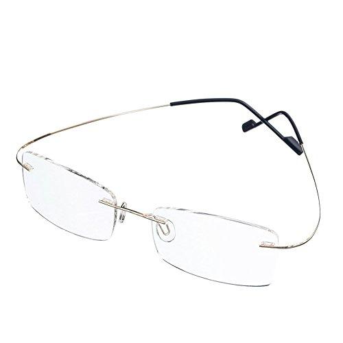 Rongchy Super Licht Titan Kurzsichtig Kurzsichtige Myopie Arbeitsbrille -1,00 Stärken Gold Farbe Männer Frauen Mode Randlose Kurzsichtig Brillen