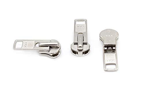 ZipperStop Distributor YKK -Zipper Repair Kit Solution YKK #10 Extra Heavy Weight Pull Sliders Metal Made in USA - 3pcs (YKK #10 Aluminum Slider)