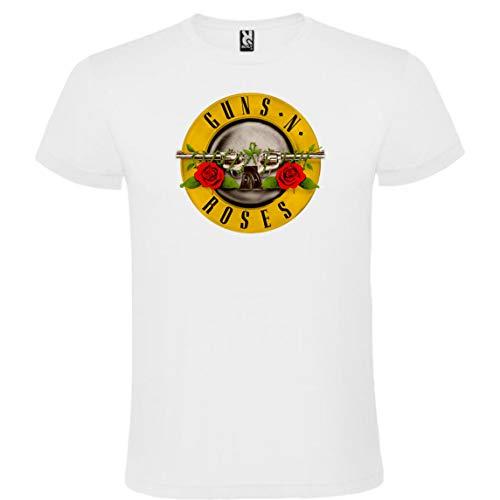 ROLY Camiseta Blanca con Logotipo de Guns N' Roses Hombre 100% Algodón...