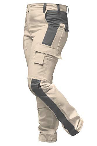 strongAnt Damen Arbeitshose atmungsaktive Stretchhose beige/hellbraune sichere Wanderhose mit funktionellen Taschen - Größe: 42