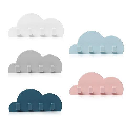 Heiqlay Wolken Haken, Rasierer Halter Haken Wandhaken Multifunktionshaken zum Aufhängen für Küche Bad Wand, Handtuchhaken Kleiderhaken (5 Wolkenhaken)