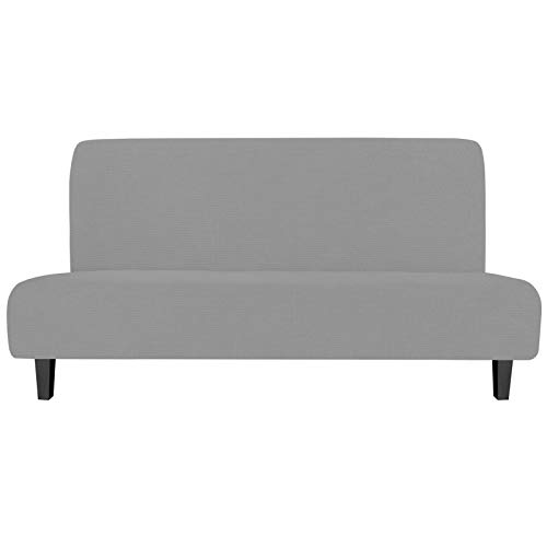 Easy-Going Stretch Sofa Slipcover Armless Sofa Cover Furniture Protector Without Armrests Slipcover Soft with Elastic Bottom for Kids, Spandex Jacquard Fabric Small Checks ( futon,Light Gray)