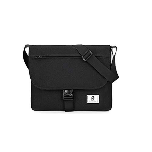 winnerruby Canvas Hombro Messenger Bag, Cross Body Messenger Bag Laptop-Tasche Umhängetasche de 9,7 Pulgadas Laptop-Schwarz/Grau