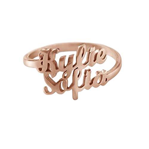 hjsadgasd Espiral Anillo Anillo de Compromiso Personalizado con Nombre de Plata/Oro Rosa Plateado Doble Anillo Grabado Personalizado con Nombres / 4 Nombres