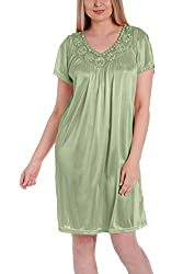 Green Yellow Silk Short Sleeve Fine Sequin Nightgown