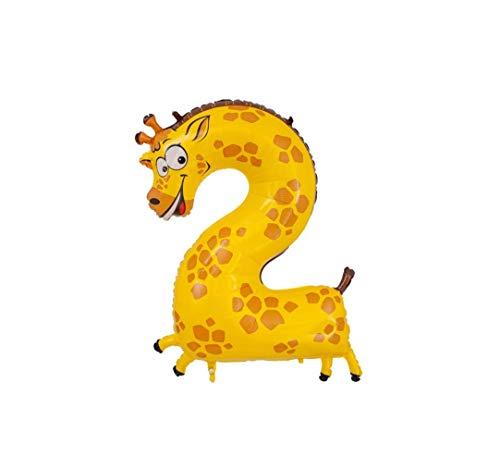 Globo de helio con número en forma de animales, perro, cebra, cocodrilo, león, zorro, decoración para cumpleaños infantiles (2)