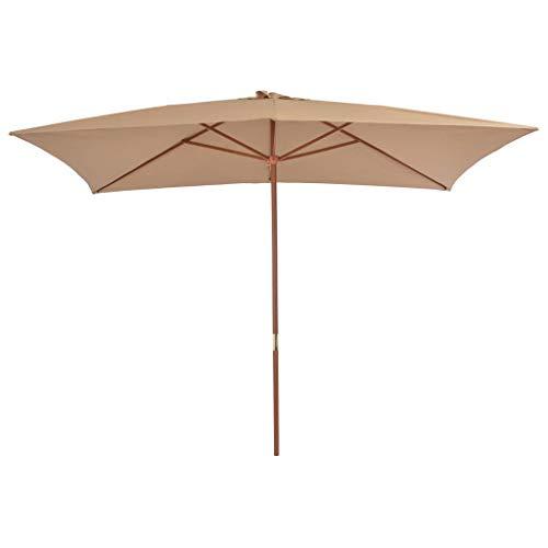 Festnight Sonnenschirm mit Holz-Mast Gartenschirm | Strandschirm mit 6 Rippen und Lüftungs?ffnung | 200 x 300 x 250 cm Taupe | für Garten Balkon Terrasse oder Strand