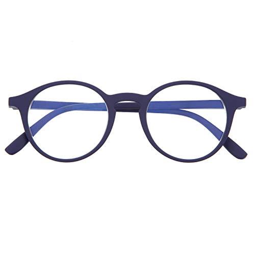 DIDINSKY Blaulichtfilter Brille für Damen und Herren. Blaufilter Brille mit stärke oder ohne sehstärke für Gaming oder Pc. Gummi-Touch-Tempel und Blendschutzgläser. Indigo +2.0 – UFFIZI