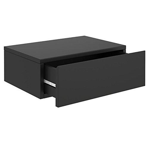 CARO-Möbel Wandregal Anne hängende Nachtkommode Wandboard Nachttisch mit 1 Schublade schwebend, grifflos, in schwarz