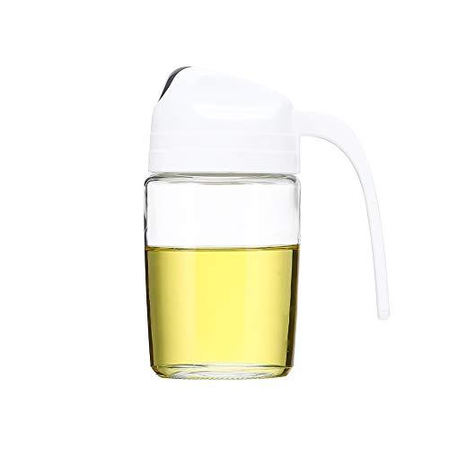 Baomasir Oliedispenser, auto flip olijfolie glazen fles, lekvrij kruidenreservoir met automatische deksel 300 ml wit