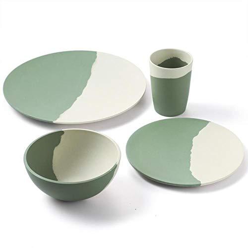 VLOU Lot de 4 assiettes en fibre de bambou pour 1 personne Vert et blanc, 4 pièces pour 1 personne., China