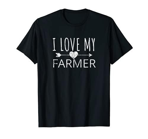 I Love My Farmer Quote Farmer's Wife Girlfriend Husband T-Shirt