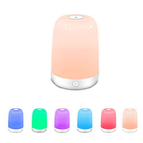 Nachttischlampe mit Touch, Reawul LED-Stimmungsnachtlicht für Schlafzimmer, Wohnzimmer, Büro 3 Dimmbare Touch-Modi und 6 Wechselbare Farben, Geschenk für Frauen Männer Jugendliche Kinder