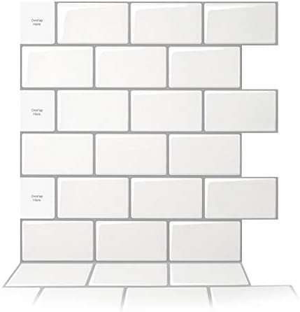 Art3d 10 Sheet Peel and Stick Backsplash 12 in x 12 in Subway 3D Wall Panels Mono White with product image