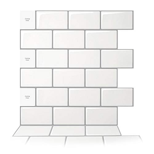 Art3d 10-Sheet Peel and Stick Backsplash, 12 in. x 12 in. Subway 3D Wall Panels, Mono White with Gray Grout