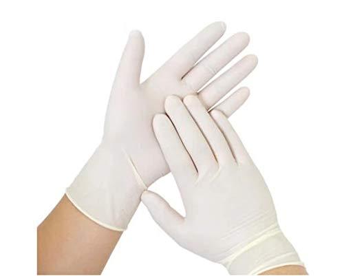 100 Stück Latexhandschuhe in Spender-Box – puderfrei Nicht steril elastisch weiß - Untersuchungshandschuhe Deutschland – Einweghandschuhe Einmalhandschuhe (L)