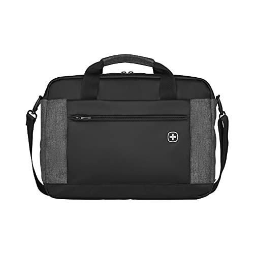 Wenger Underground Aktentasche, Laptoptasche zum Umhängen, Notebook bis 16 Zoll, Tablet bis 10 Zoll, 9 l, Damen Herren, Büro Business Uni Schule, Schwarz