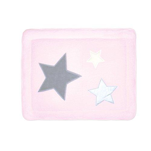 BEMINI - Tapis de Parc - 75x95 cm - Collection Stary - motifs étoiles Rose - en Softy