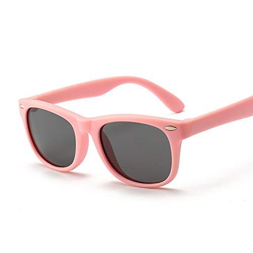 NJJX Gafas De Sol Polarizadas Para Niños, Gafas De Sol Clásicas Cuadradas Para Niños, Niñas, Gafas De Seguridad De Silicona, Regalo Para Niños, Gafas Para Bebés, Rosa, Gris