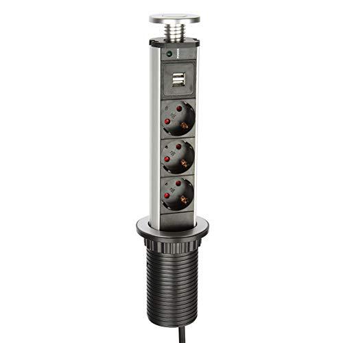 Logtronik Multiprise Encastrable Bloc Prise Escamotable à la Norme Européenne - avec 3 Prises de Courant 2 USB Prises - Diamètre 60mm Câble 1,8m - pour Cuisine ou Bureau (Argenté)