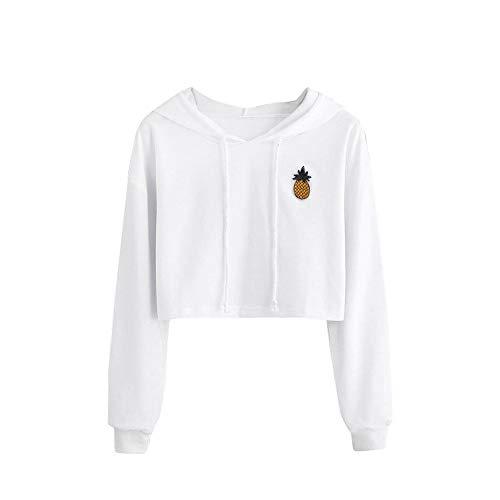 Zimuuy Damen Hoodie Sweatshirt Ananas Appliques Pullover Bauchfrei Kapuzenpullover (Weiß, M)