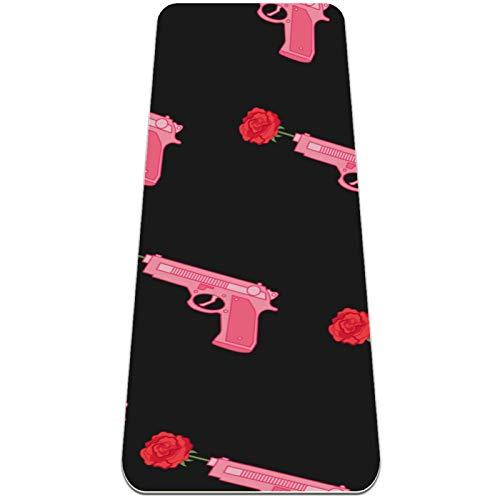 Eslifey Pink Girl Power Gun Rose Patern - Esterilla de yoga gruesa antideslizante para mujeres y niñas (72 x 24 pulgadas, 1/4 pulgadas de grosor)