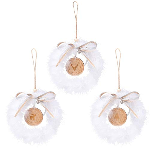 NUOBESTY 3Pcs Christmas Bow-knot Wreath White Feather Rattan Bow Garland Hanging Ornament For Xmas Tree Door Window Porch Hallway Home Decor