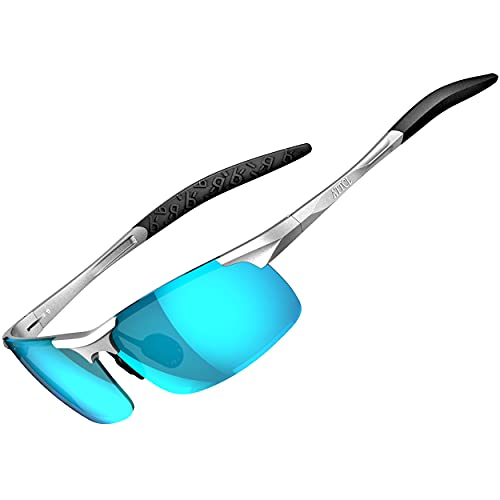 ATTCL Herren Polarisierte Treiber Glasses Sport Sonnenbrillen Al-Mg Metallrahme Ultra leicht 8177 Silber-Blau